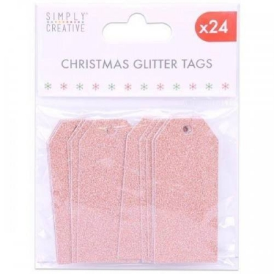 simply creative rose gold christmas glitter tags