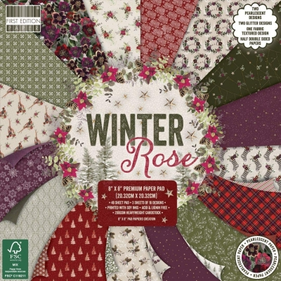 first edition 8x8 paper pad - winter rose
