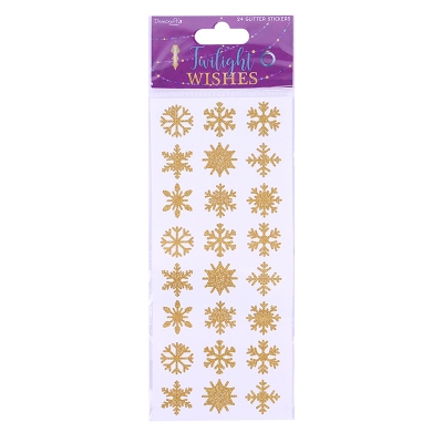 dovecraft twilight wishes glitter snowflake stickers