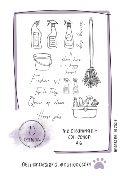 delilah designs the cleaning kit collection a6 stamps