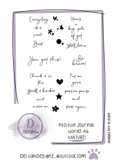 delilah designs positive journal words a6 stamps