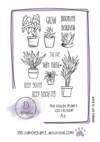 delilah designs the house plant collection a5 stamps