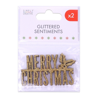 simply creative gold glittered sentiments - merry christmas