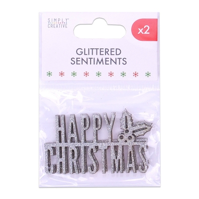 simply creative silver glittered sentiments - happy christmas